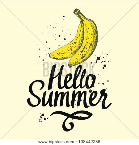 Fruit summer poster with yellow banana on white background. Sketch style. Fresh organic food.