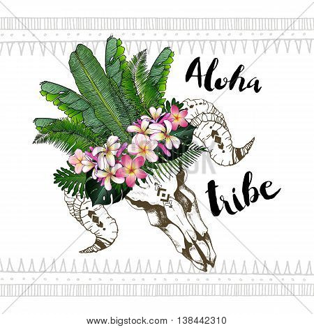 Vector fashion boho chick style goat skull with flower palm crown. Aloha tribe. Exotic flowers and palm leaves in hawaiian style. Hand drawn.