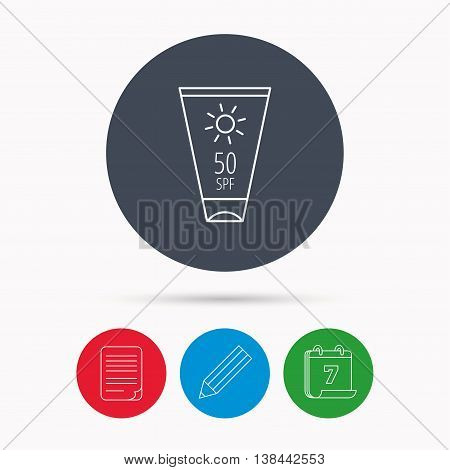 Sun cream container icon. Beach lotion sign. Calendar, pencil or edit and document file signs. Vector