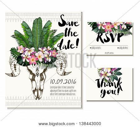 Vector wedding card set in trendy boho style. Skull wearing exotic flower and palm leaves crown. Includes save the date rsvp and thank you cards templates.