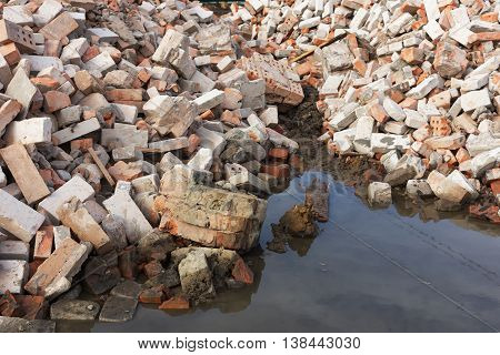 Pile Of Ruined Brick Building After Demolition