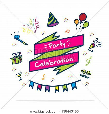 Vector : Party Celebrate Banner With Party Icon In Doodle Style