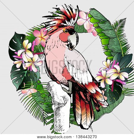 Vector portrait of Major Mitchell cockatoo parrot. Decorated with exotic palm leaves and flowers. Wild African animals collection in hand drawn color style.