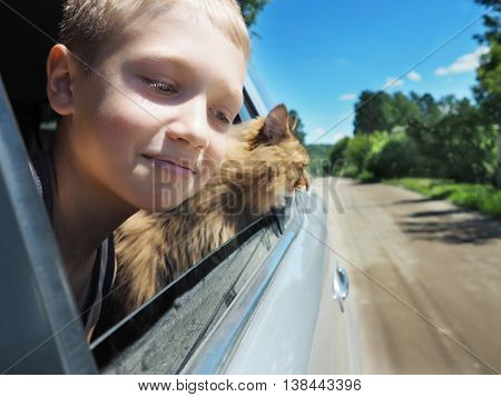 Happy boy and his companion cat in the car.