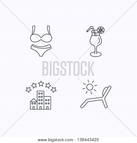 Lingerie, deck chair and cocktail icons. Hotel linear sign. Flat linear icons on white background. Vector