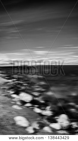 Vertical Black And White Dramatic Stony Beach Motion Blur Abstra