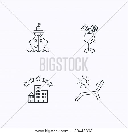 Cruise, waves and cocktail icons. Hotel, deck chair linear signs. Flat linear icons on white background. Vector