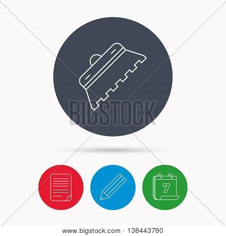 Trowel for tile icon. Spatula repair tool sign. Calendar, pencil or edit and document file signs. Vector