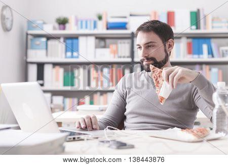 Man Enjoying His Lunch Break