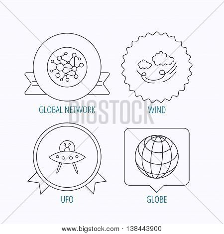 Ufo, planet and global network icons. Wind linear sign. Award medal, star label and speech bubble designs. Vector
