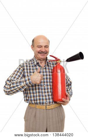 Elderly Man Is Holding A Red Fire Extinguisher.