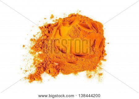 Turmeric (Curcuma) Powder Isolated on white background.