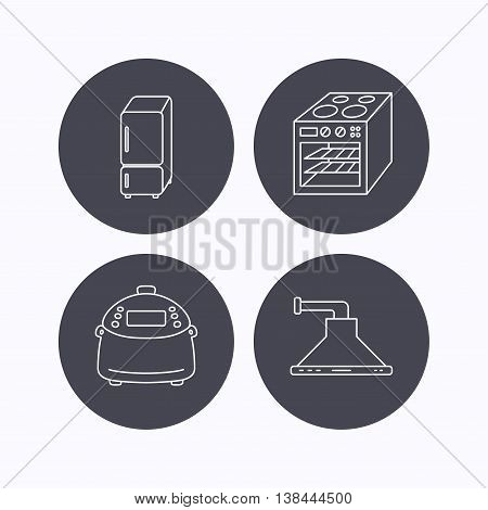 Refrigerator, multicooker and oven icons. Kitchen hood linear sign. Flat icons in circle buttons on white background. Vector