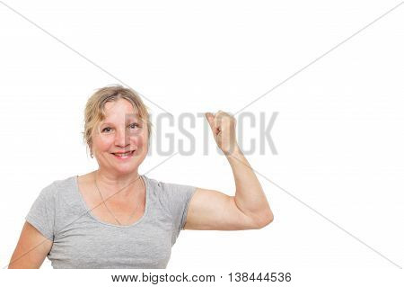 elderly woman is doing physical exercise to maintain good health