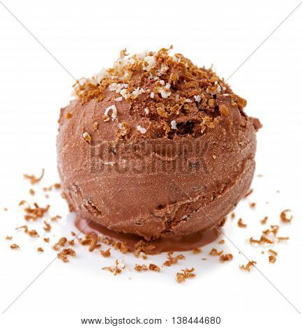 Ice cream with grated chocolate isolated on white background.