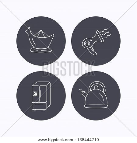 Hair-dryer, teapot and juicer icons. Refrigerator fridge linear sign. Flat icons in circle buttons on white background. Vector
