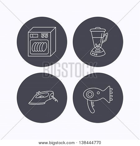 Dishwasher, hairdryer and mixer icons. Iron linear sign. Flat icons in circle buttons on white background. Vector