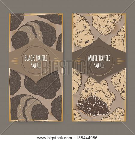 Set of two vintage labels for white and black truffle sauce based on hand drawn color sketch. Great for restaurant, cafe, markets, grocery stores, organic shops, food label design.