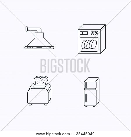Dishwasher, refrigerator fridge and toaster icons. Kitchen hood linear sign. Flat linear icons on white background. Vector