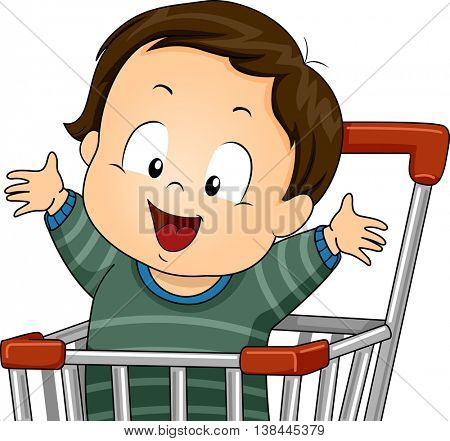 Illustration of a Baby Boy Riding a Push Cart