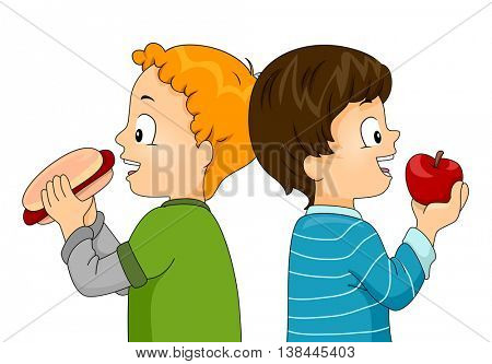 Illustration of Little Boys Eating a Hotdog and an Apple
