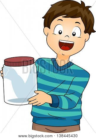 Illustration of a Little Boy Presenting a Laboratory Jar