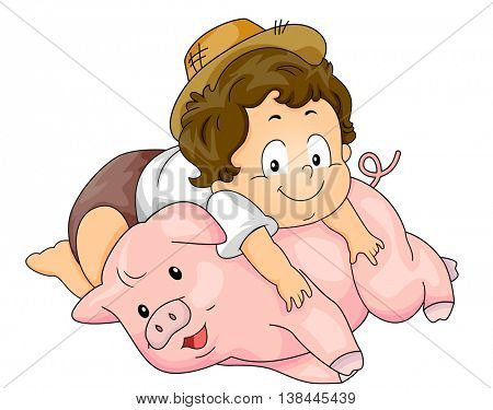 Illustration of a Baby Boy Lying on Top of a Pig