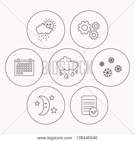 Weather, snowflakes and rain icons. Moon night linear sign. Check file, calendar and cogwheel icons. Vector