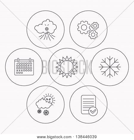 Weather, sun and snow icons. Wind and snowflake linear signs. Check file, calendar and cogwheel icons. Vector