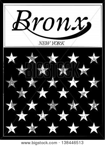 Bronx New York sport typography; t-shirt graphics; vectors