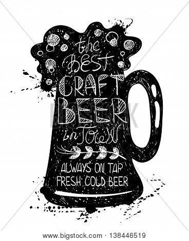 Hand drawn illustration of isolated black beer mug silhouette on a white background. Typography poster with text inside - the best craft beer in town.