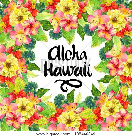 Hawaiian Wreath With Realistic Watercolor Flowers. Aloha Hawaii.