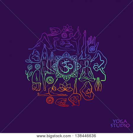Creative yoga logo. Colorful female silhouettes doing yoga poses. Concept design of yoga symbols in circle shape.