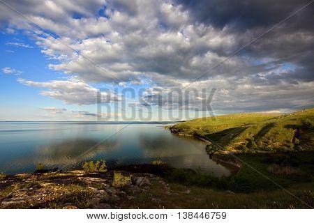 panoramic view of lake in Dobrogea, Romania