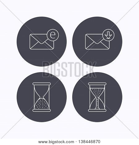 Hourglass, inbox mail and e-mail icons. Hourglass linear sign. Flat icons in circle buttons on white background. Vector