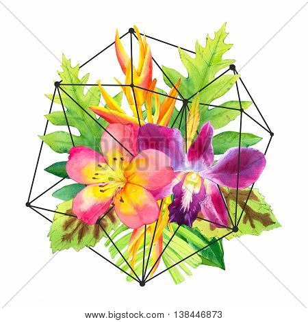 Botanical Illustration With Watercolor Tropical Flowers.