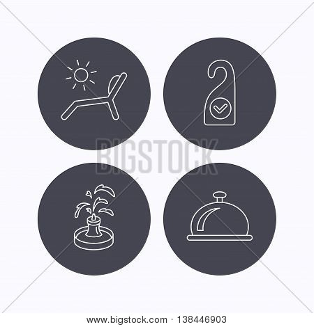 Reception bell, fountain and beach deck chair icons. Clean room linear sign. Flat icons in circle buttons on white background. Vector