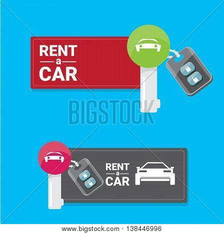 vector car keys isolated on blue. car rent concept vector banner. vector key flat icon