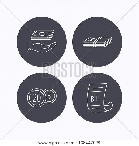 Save money, cash money and bill icons. Coins linear sign. Flat icons in circle buttons on white background. Vector