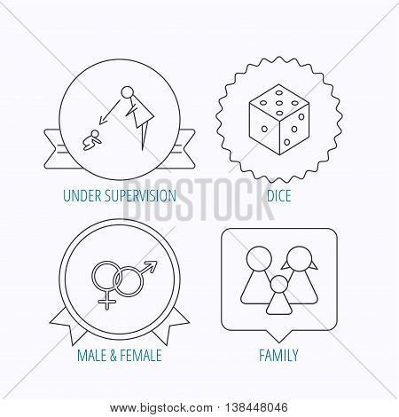 Male, female, dice and family icons. Under supervision linear sign. Award medal, star label and speech bubble designs. Vector