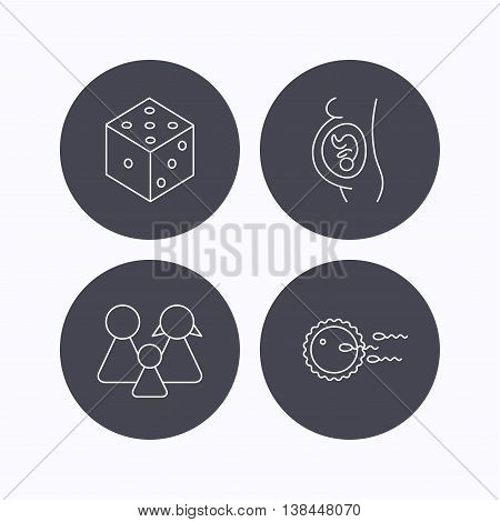 Pregnancy, family and family planning icons. Dice linear sign. Flat icons in circle buttons on white background. Vector