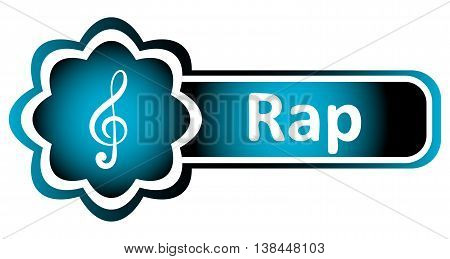 Double icon blue with a treble clef and the word rap