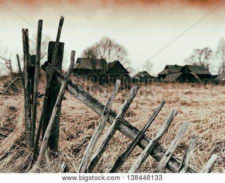 Horizontal vintage zombie ghost town fence bokeh background backdrop