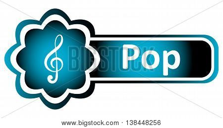 Double icon blue with a treble clef and the word pop