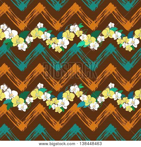 tropical pattern with zigzag lines, vector seamless pattern