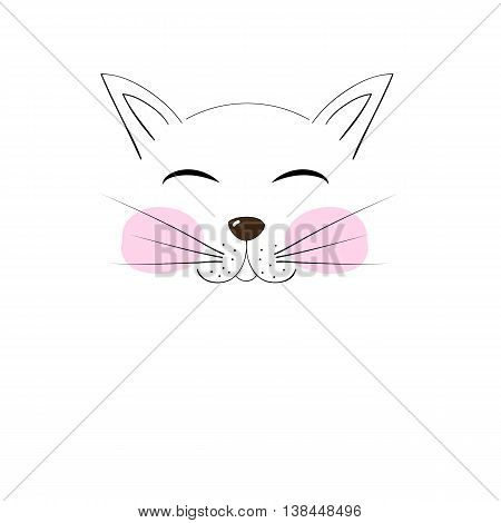 Cute Cat Muzzle Cheeks Drawn Cartoon Hand Drawing For Your Design Illustration
