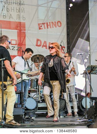 St. Petersburg, Russia - 2 July, Dancing on stage soloist, 2 July, 2016. Annual international festival of jazz and blues in St. Petersburg.