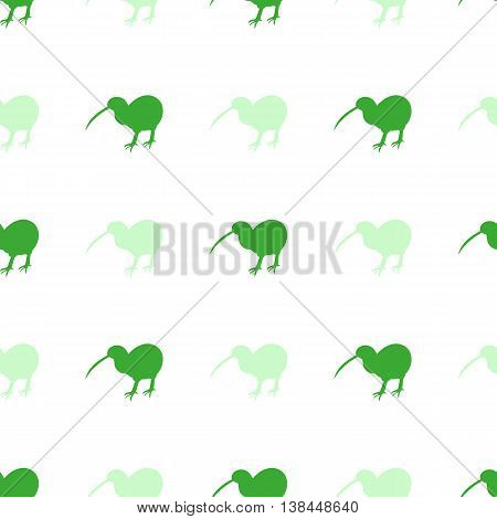 Cute Seamless Pattern With A Silhouette Of  Bird Kiwi Green Sweet