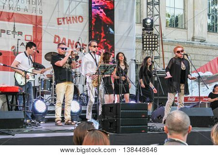 St. Petersburg, Russia - 2 July, Speech jazz artists on the urban scene, 2 July, 2016. Annual international festival of jazz and blues in St. Petersburg.