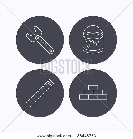 Brickwork, measurement and adjustable wrench icons. Bucket of paint linear sign. Flat icons in circle buttons on white background. Vector
